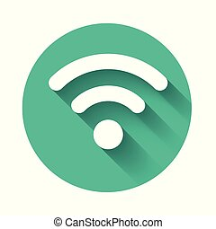 White Wi-Fi wireless internet network symbol icon isolated with long shadow. Green circle button. Vector Illustration