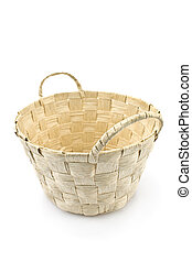 White wicker bag isolated on white