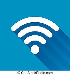White WiFi icon with long shadow on blue