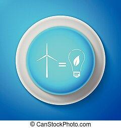 White Wind turbine and light bulb with leaves as idea of eco-friendly source of energy icon isolated on blue background. Circle blue button with white line. Vector Illustration