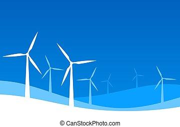 White wind turbine farm on blue background illustration.