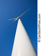 White wind turbine for wind energy from below