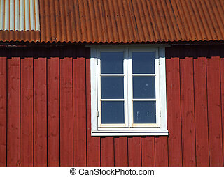 White window and red wall