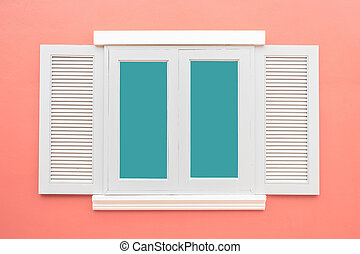 White window classic vintage on the color pink wall background
