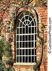 white window red brick