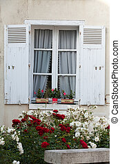 White window with  flowers of geranium and roses