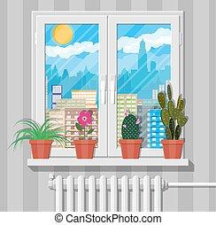 White window with flowers on wall, city skyline