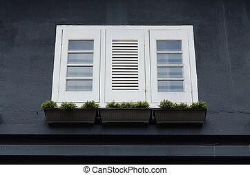 White windows on black wall