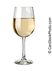 White Wine and glass isolated on white