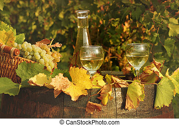 white wine and grape in vineyard