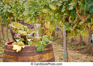 white wine and grape on barrel in vineyard