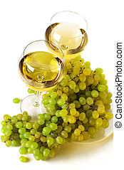 White wine and grape - Two glasses of white wine and bunch ...