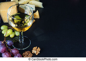 White wine and snacks