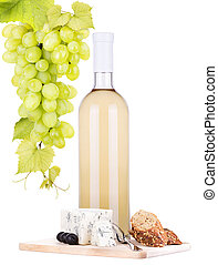 white wine assortment cheese and grapes - bottle of wine,...