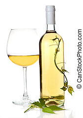White wine bottle and glass. Isolated on white background