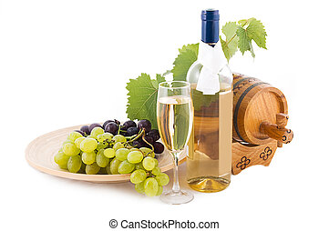 White wine bottle, glass and cask with grapes over white