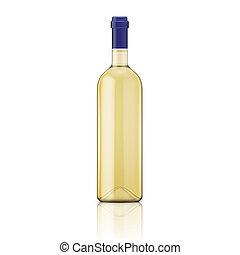 Glass white wine bottle. Vector illustration. Glass bottle collection. Item 7.