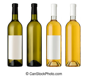 White wine bottle in clear glass bottle with blank label and...