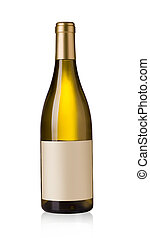 white wine bottle with blank labels