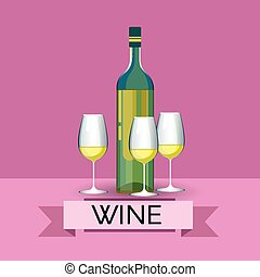 White Wine Bottle With Glasses Alcohol Drink Icon