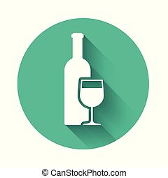 White Wine bottle with wine glass icon isolated with long shadow. Green circle button. Vector Illustration