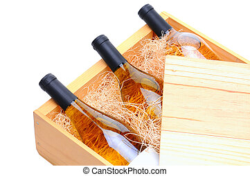 White Wine Bottles in wooden crate
