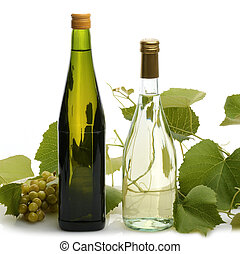 White Wine Bottles With Grape Plant On White Background