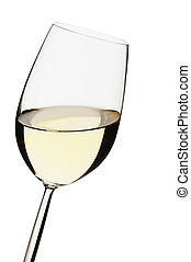 White wine - Close-up of a white wine glass on white ...
