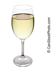 white wine glass isolated on white