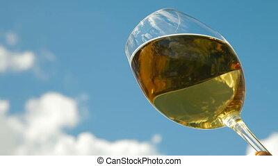 White Wine Glass - White wine glass against the sky