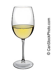White wine glass with a few bubbles, isolated