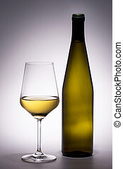 White Wine Glass with Wine Bottle