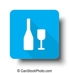 White Wine icon on blue web button