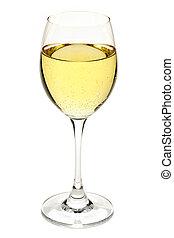 White wine in glass - White wine beverage in crystal...
