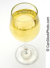 White Wine on Solid Background.