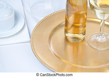 White Wine on Tray with Table Setting