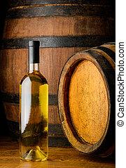 white wine on wooden background