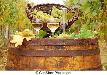 white wine on wooden barrel
