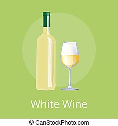 White Wine Set of Two Items Vector Illustration