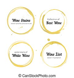 Vector set of white Wine stain circles, splashes and spot isolated on white background. Watercolor hand drawing glass marks.