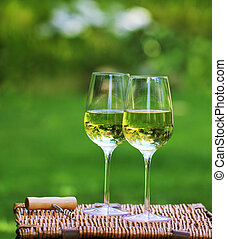 White wine - Two glasses of the white wine in the garden
