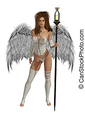White Winged Angel With Brunette Hair - White winged angel...