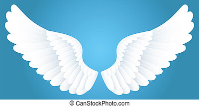 White wings. - White wings on blue background.
