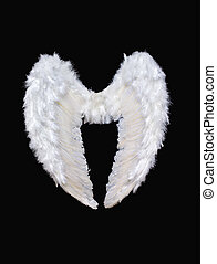 White angel wings isolated on black background