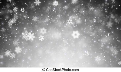 White Winter Christmas Background, Falling Snowflakes And Stars
