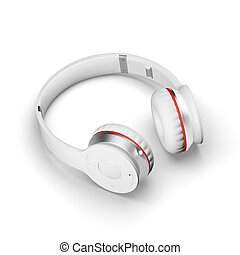 White wireless headphones isolated on white background 3d illustration render