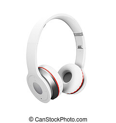 White wireless headphones isolated on white background d illustration render