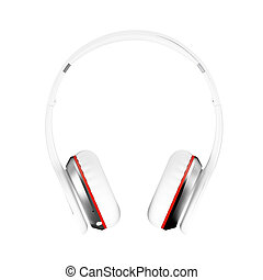White wireless headphones isolated white background 3d illustration render front