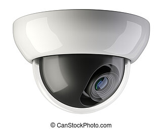 White wireless security surveillance camera rotated to the side.