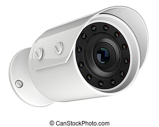 White wireless security surveillance camera.